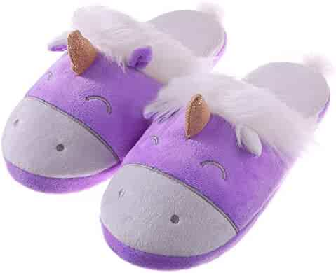 97b0ca5f9b70 RONGBLUE Womens Girls Cute Unicorn Animal Slippers Fleece Plush Warm Indoor  House Bedroom Winter Shoes