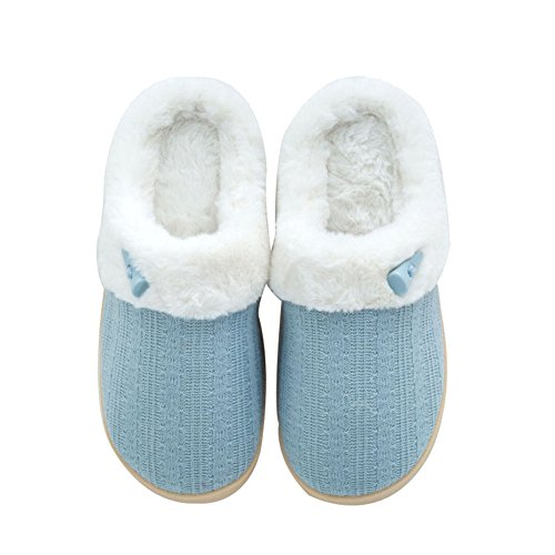 NineCiFun Women's Slip on Fuzzy Slippers Memory Foam House Slippers Outdoor Indoor Warm Bedroom Shoes Fur Lined (9-10 M US, Light Blue)
