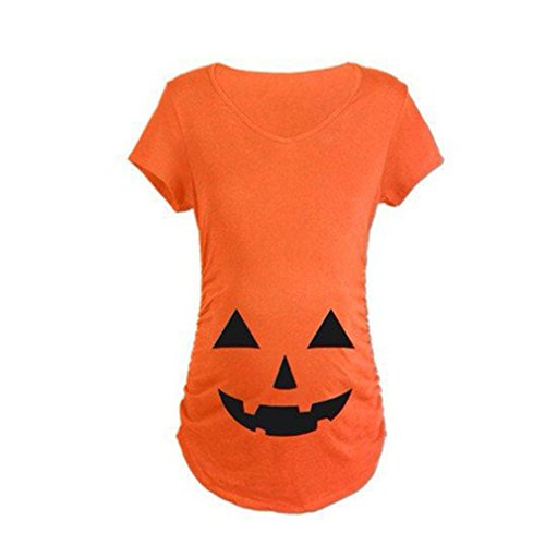GUAngqi Trendy Tops For Pregnant Woman Pumpkin Carved Face Halloween Printed Maternity Clothes T-shirt Pregnancy Clothes,Orange,M