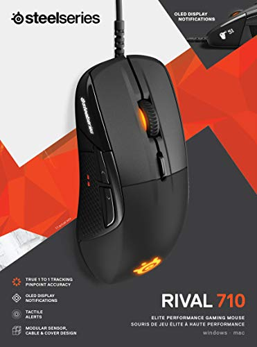 SteelSeries Rival 710 Gaming Mouse - 16,000 CPI TrueMove3 Optical Sensor - OLED Display - Tactile Alerts - RGB Lighting…