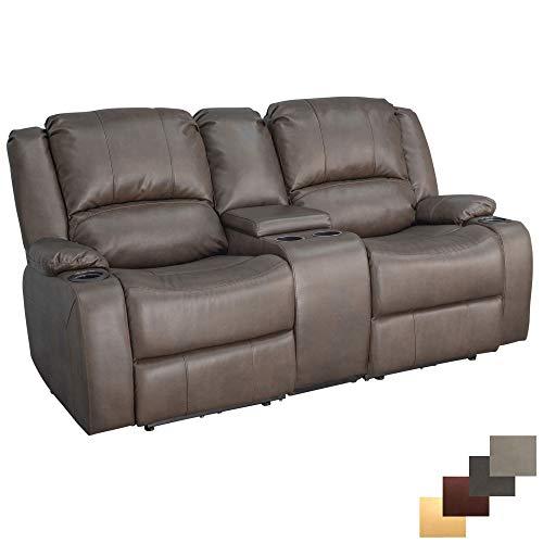 "RecPro Charles 70"" Powered Double RV Wall Hugger Recliner Sofa | Loveseat | RV Furniture (Chestnut)"