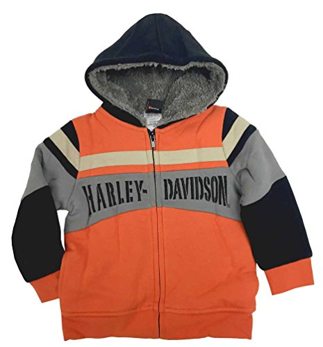Harley-Davidson Big Boys' Colorblock Sherpa Fleece Hoodie, Orange 6591678 (8/10)