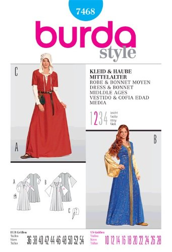 BURDA 7468 Costume Dress for a noblewoman (size 10-28) SEWING PATTERN