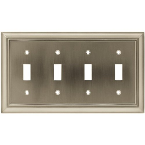 [Brainerd 64169 Architectural Quad Toggle Switch Wall Plate / Switch Plate / Cover satin nickel] (Quad Light Switch Cover)