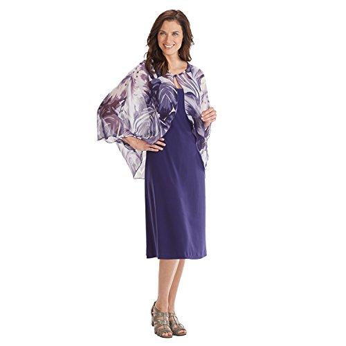 (Connected Apparel Chiffon Dress - Knee-Length Sleeveless w. Short Sleeve Capelet - Size 20W)
