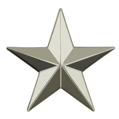 's Military 3D 5 Point Silver Star Lapel Pin