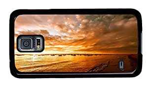 Hipster retro Samsung Galaxy S5 Cases beach sunset ships PC Black for Samsung S5
