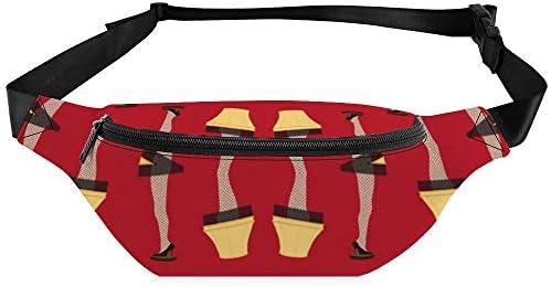 赤のクリスマスレトロ脚ランプ ウエストバッグ ショルダーバッグチェストバッグ ヒップバッグ 多機能 防水 軽量 スポーツアウトドアクロスボディバッグユニセックスピクニック小旅行