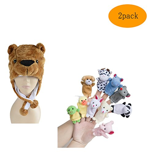 [Pulama Winter Animal Beanie Hats, Short Cartoon Caps with 10 Finger Puppets (Teddy Bear)] (Cow Head Hat Adult)