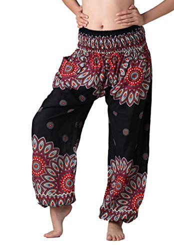 Bangkokpants Women's Boho Pants Hippie Clothes Yoga Outfits Peacock Design One Size Fits (Black Flowerbloom)]()