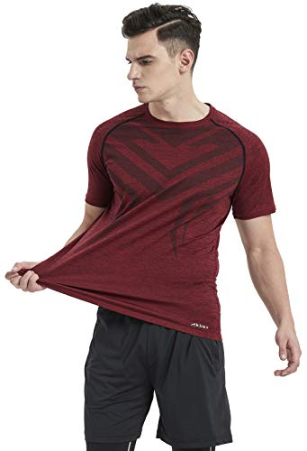 Akilex Mens Tight Sports Short Sleeve Comfortable Quick Dry Fitness Running Shirt Top (3006 Maroon, L (Chest 40.5-41 inch))