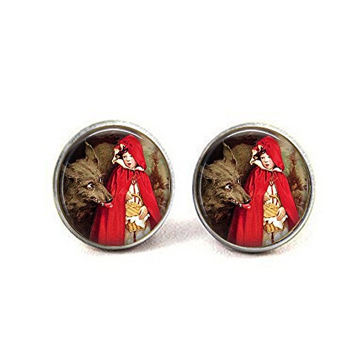 (Little Red Riding Hood w Big Bad Wolf - Jessie Willcox Smith - Fairytale - Once Upon a Time - Riding Hood Earrings - Grimm's Tales)