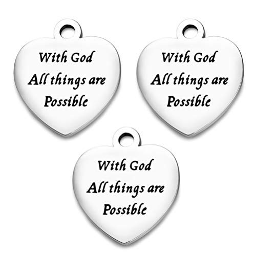 OBSEDE with God All Things are Possible Heart Stainless Steel Charms Fit Bracelets Necklaces Jewelry Making ()