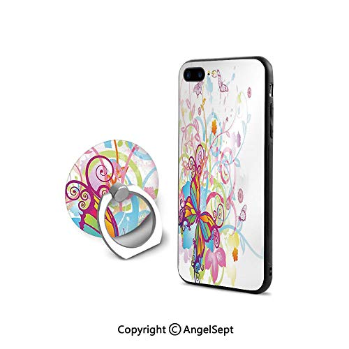 Protective Case for iPhone 8/iPhone 7 with Ring Holder Kickstand,with Floral Elements and Leaves Stylized Curvy Branches Ornament Print,for Girls,Multicolor