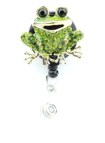 Green Toad Frog ID Badge Holder w/Retractable Pull Reel & Crystal Rhinestone ()