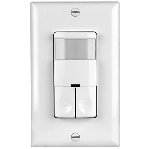 TOPGREENER Dual Load Occupancy/Vacancy Light Switch and Bathroom Fan PIR Motion Sensor, 800W, 1/4HP, 120/277VAC, Secured Ground Wire Required, Neutral Not Required, White TDOS5-JD (Bathroom Fan And Light Switch)