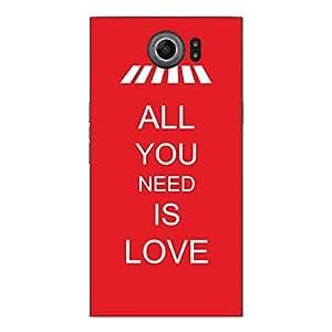 "Motivos Disagu Design Skin para BlackBerry Priv Rückseite: ""ALL YOU NEED IS LOVE"""