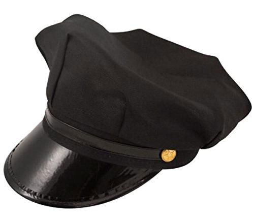 Chauffeur Costumes (Men's Chauffeur Hat Limo Driver Black Peaked Cap Fancy Dress Costume (Black))