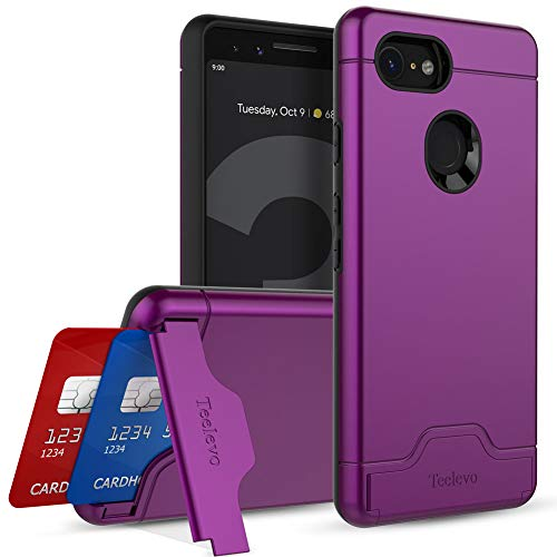 (Teelevo Wallet Case for Google Pixel 3 - Dual Layer Case with Card Slot Holder and Kickstand for Google Pixel 3 (2018) - Purple)