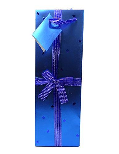 True Decorative Paper Wine Gift Bag, Blue, 1-Pack