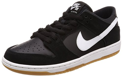 (Nike SB Zoom Dunk Low Pro Black/White-Gum Light Brown Skate Shoes-Men 8.0, Women 9.5 )