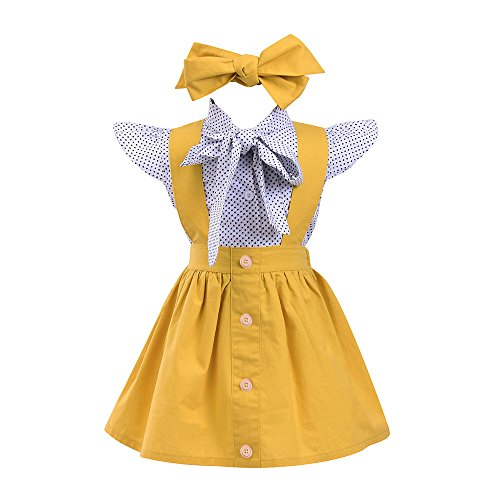 Kehen 3pc Kid Toddler Baby Girl Dress Set Polka Dot Ruffles Sleeve Bow Shirt+Suspender Braces Skirt Overalls + Headband (Yellow (Sleeveless), 5T)