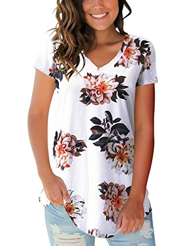 Ladies Short Sleeve V Neck T Shirts Cute Tops Flowy Blouse Floral White M