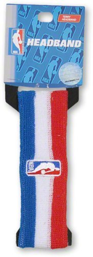 Official NBA On-Court Logoman Headband - Red/White/Blue by For Bare Feet