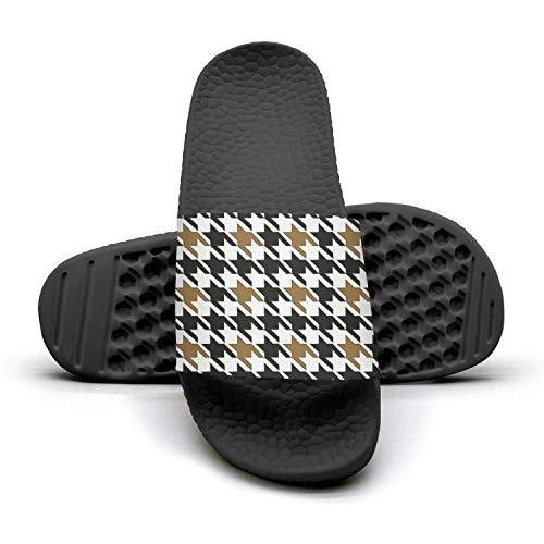sedoied Unisex Slides Sandals Black and Beige Houndstooth Checkerboard Slip Memory Foam Athletic Shower Slide Sandal