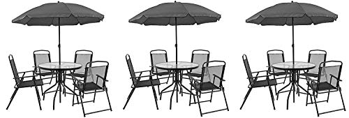 Flash Furniture Nantucket 6 Piece Patio Garden Set with Table, Umbrella and 4 Folding Chairs (Pack of 3) from Flash Furniture