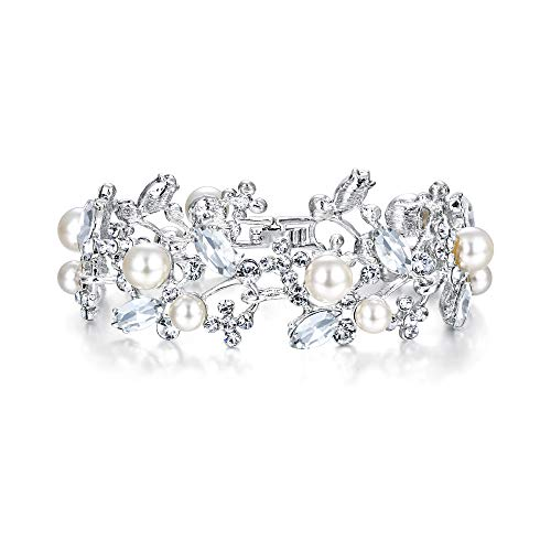 EVER FAITH Austrian Crystal White Simulated Pearl Bridal Prom Floral Leaf Tennis Bracelet
