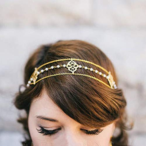 Yalice Elegant Pearl Head Chain Gold Headpieces Wedding Hair Acessories for Women and Girls (Chain Headpiece Gold)