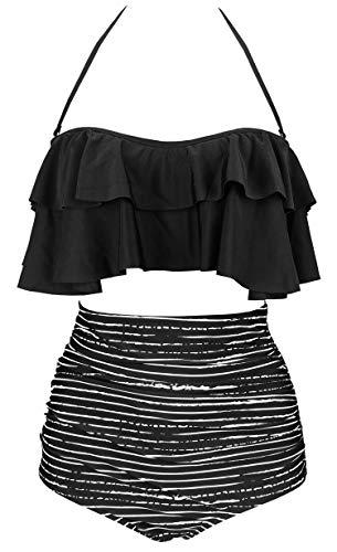 COCOSHIP Black Striped & White Balancing Act Retro Boho Flounce Falbala High Waist Bikini Set Chic Swimsuit Bathing Suit XXXL
