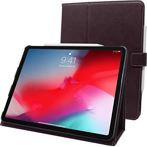"""Snugg iPad Pro 2018 11"""" Leather Case, Flip Stand Cover - Amethyst Purple"""
