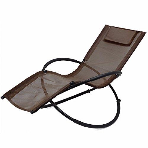 Folding Orbit Zero Gravity Chair Patio garden Lounger Rocking Outdoor brown By Allgoodsdelight365 (Repair Web Chair Patio)