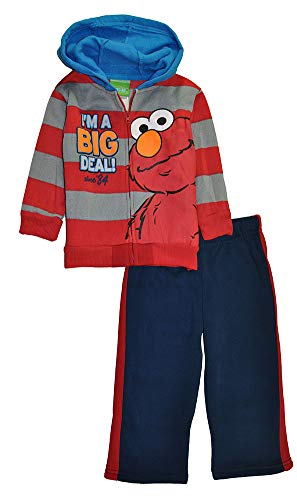 Sesame Street Boys' Elmo I'm A Big Deal Two-Piece Sweatsuit Set, Red/Navy, 18M -