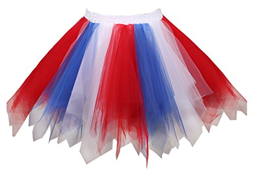 Musever 1950s Vintage Ballet Bubble Skirt Tulle Petticoat Puffy Tutu Red/White/Blue Large/X-Large