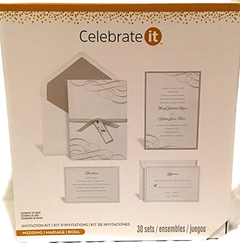 Wedding Invitation Sets (Celebrate it Wedding Invitation Kit 30 Sets (White w Silver)
