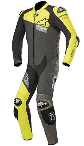 GP Plus Venom Leather Racing One Piece Motorcycle Suit (60 EU, Black Yellow Fluo ()