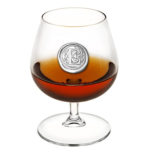 English Pewter Company 14.5oz Brandy Cognac Snifter Glass With Monogram Initial - Personalized Gift With Your Choice of Initial (E) [MON205] by English Pewter Company Sheffield, England
