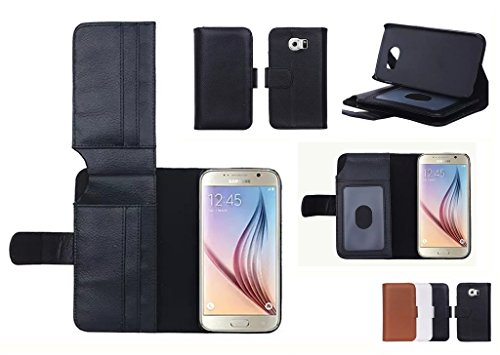 (Case for Samsung Galaxy S6/SM-G920i) Bon Venu Business simplicity Luxury Wallet Purse style Synthetic Faux leather material Lady PU Magnetic famous brand Women Essential Genuine Leather Clutch Folded bag wallet with Photo Frame Credit ID Card Slot Pocket Large note holder solid color case cover for Samsung S6/SM-G920i+ Screen Protector (Black)