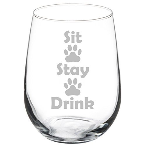 Wine Glass Goblet Funny Dog Cat Animal Lover Sit Stay Drink Paw Prints (11 oz Stemless)