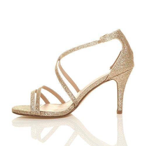 High Women Glitter Sandals Gold Ajvani Shoes Size Heel qa5ZwFRF
