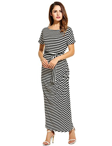 long black and white striped maxi dress - 3