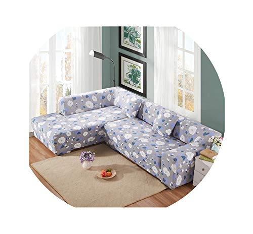 L Shaped Sofa Cover Needs Order 2 Pieces Sofa Cover for Sectional Couch Cover Stretch Sofa Covers for Living Room funda Sofa,Color 9,Single-seat 90-140cm