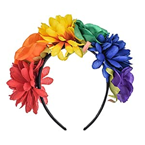 Floral Fall Rainbow Rose Flower Crown Pride Party Headpiece Tropical Hawaiian Luau Photo Props FL-02 118