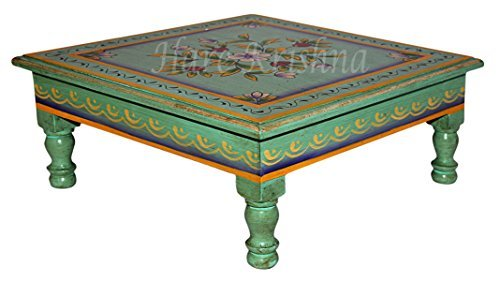 Indian Wooden Side Table Hand Painted Square Pooja Chowki 13 x 13 x 5.5 ()