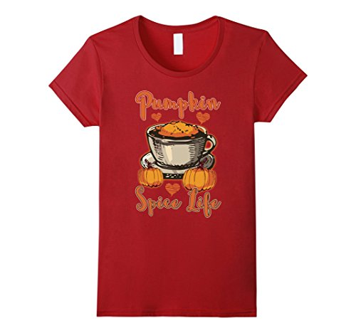 Womens Pumpkin Spice Life Coffee Autumn Life Season T-Shirt Small Cranberry