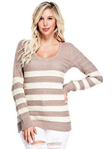 GUESS Factory Women's Glenn Breton Stripe Long-Sleeve Sweater