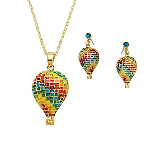 Rides Hot Air Balloon - Lola Bella Gifts Crystal Over The Rainbow Hot Air Balloon Necklace and Earrings with Gift Box